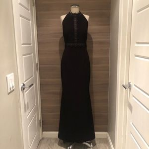 Absolutely stunning black gown with lace trim